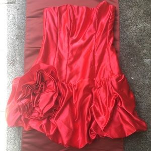 Gunne Sax JESSICA MCCLINTOCK Silky Red DRESS 9